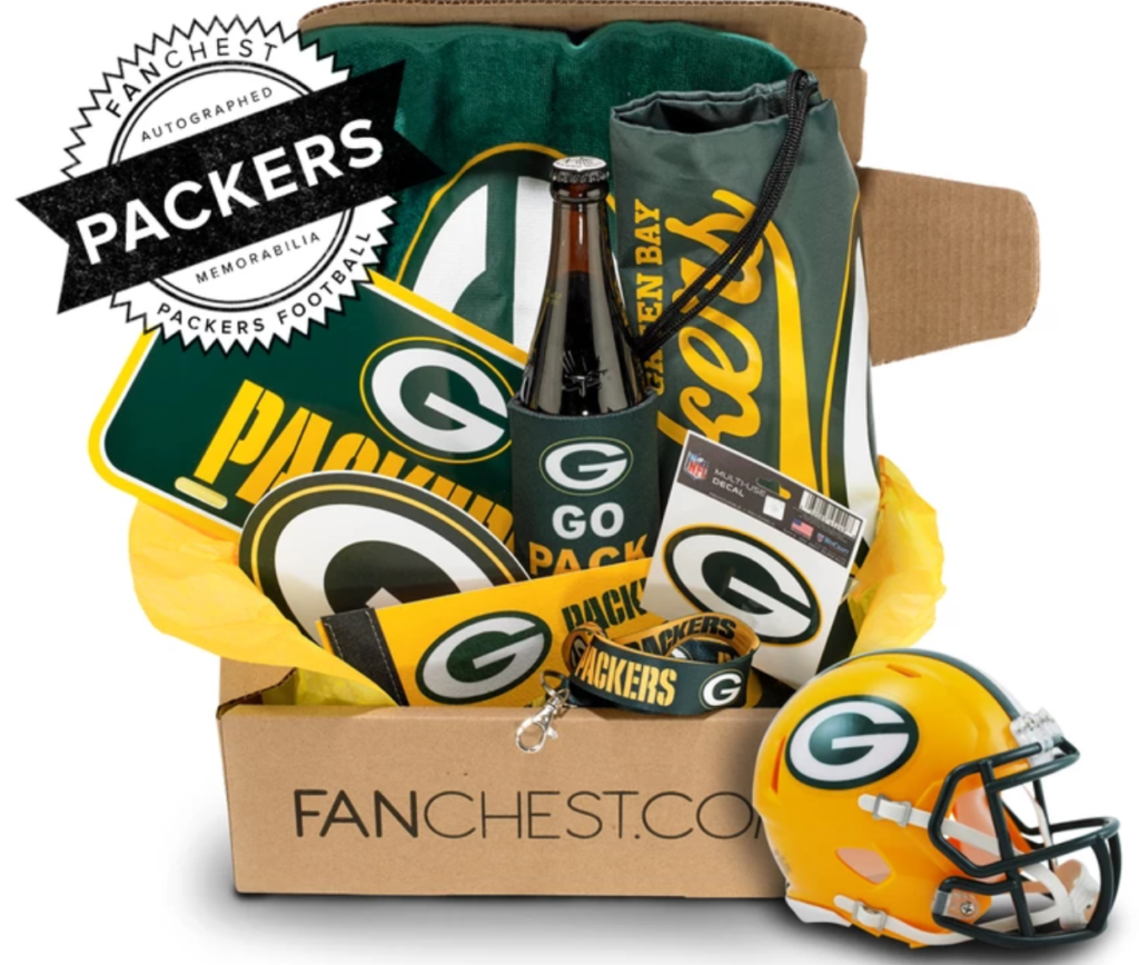 green bay packers signed memorabilia gift set